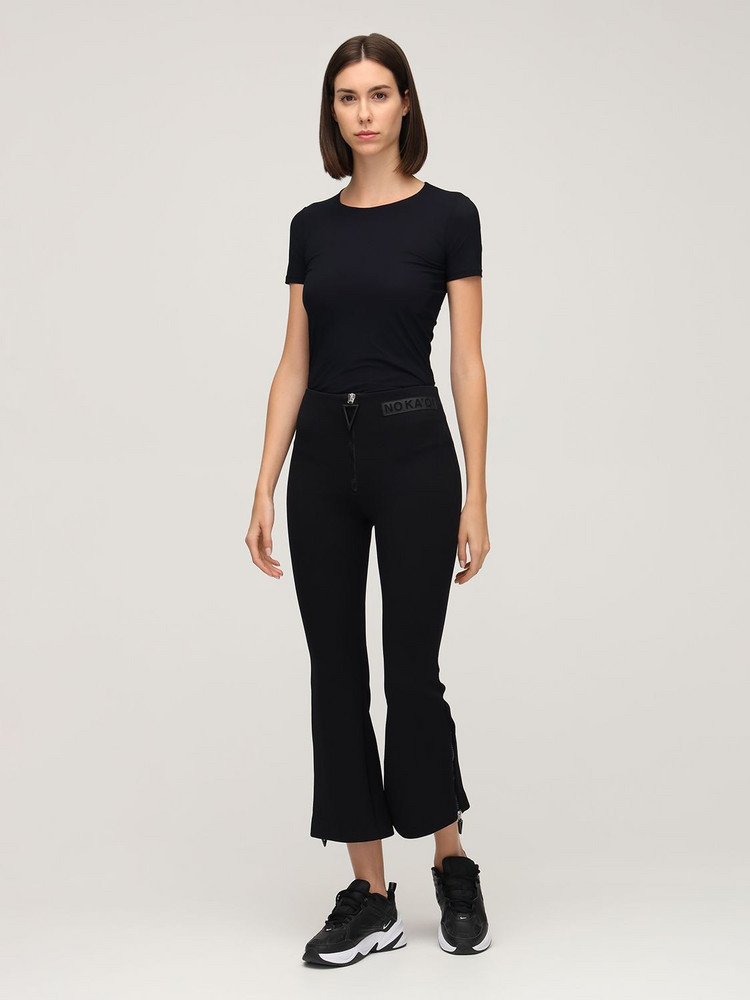 NO KA'OI Horizon High Waist Flared Pants in black