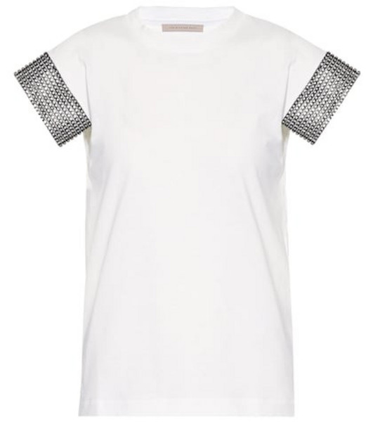 Christopher Kane Embellished cotton T-shirt in white