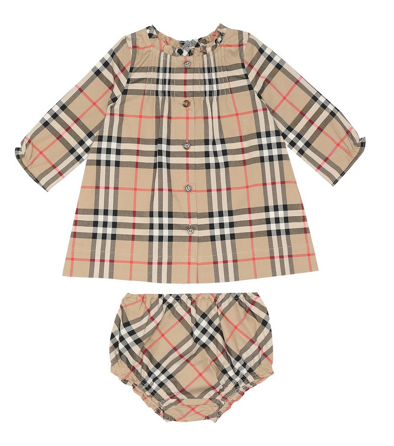 Burberry Kids Baby Marissa cotton dress and bloomers set in beige