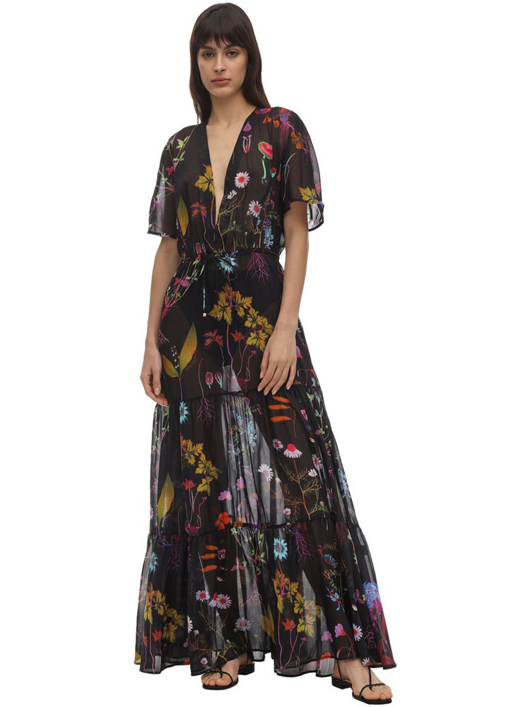 STELLA MCCARTNEY Trippy Floral Print Cotton & Silk Dress in black / multi