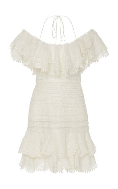 Zimmermann Ruffled Off-The-Shoulder Linen-Blend Mini Dress Size: 2 in white