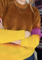 sweater,brown,yellow,pink,colorful