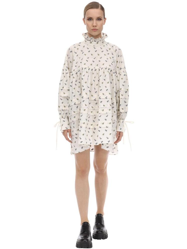 CECILIE BAHNSEN Alberte Fil Coupé Cotton Mini Dress in white