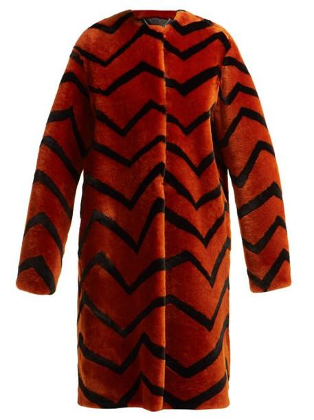 Givenchy - Zigzag Shearling Coat - Womens - Orange Multi
