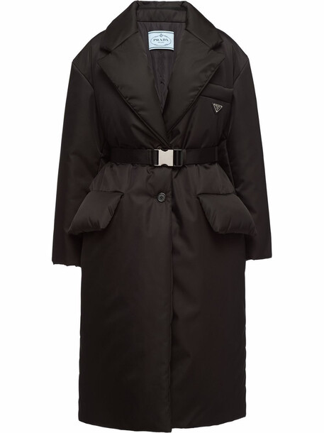 Prada logo-plaque belted-waist coat - Black