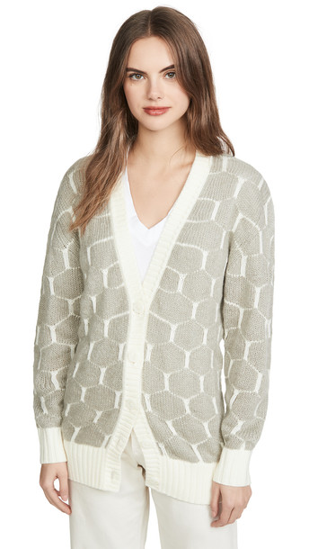 See by Chloe Honeycomb Cardigan in grey / white