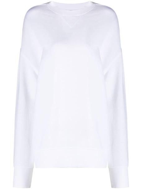 Vince crew-neck long-sleeve sweatshirt in white