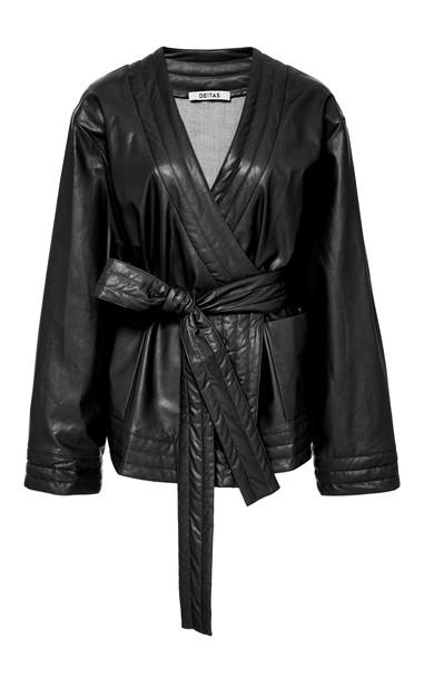 Deitas Veronique Organic Vegan Leather Belted Kimono in black