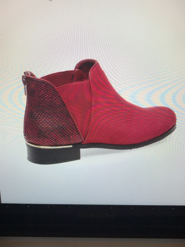 shoes red boots mix leather chelsea boots suede boots
