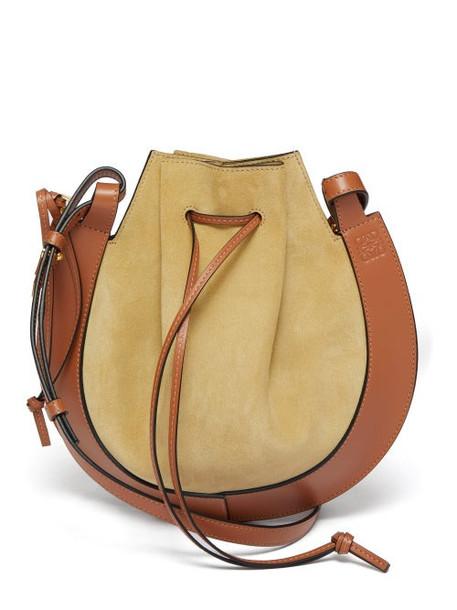 Loewe - Horseshoe Suede And Leather Bag - Womens - Beige Multi