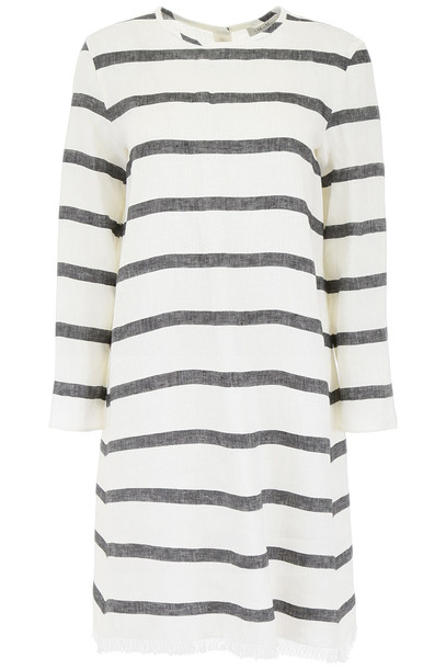 Max Mara Studio Striped Shirt Dress in nero / ecru