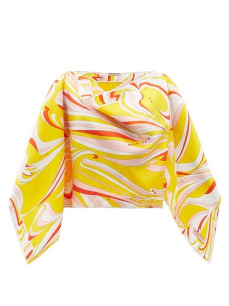 Emilio Pucci - Vortici-print Silk-satin Poncho - Womens - Yellow Multi