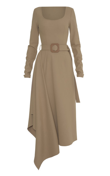 Lado Bokuchava Belted Cotton-Blend Square Neck Dress in neutral
