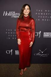 skirt,red dress,red,sequins,sequin skirt,sophia bush,celebrity,turtleneck,top