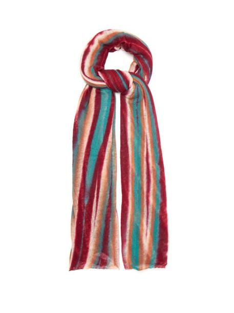 Missoni - Striped Cashmere Scarf - Womens - Pink Multi