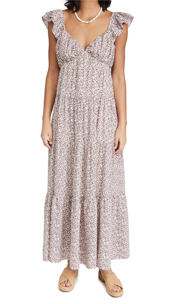 ENGLISH FACTORY Floral Ruffle Sleeve Maxi Dress in ivory / multi
