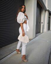 top,crop tops,white top,white jeans,sandal heels,handbag