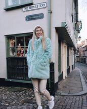 coat,faux fur coat,blue coat,skinny pants,white sneakers