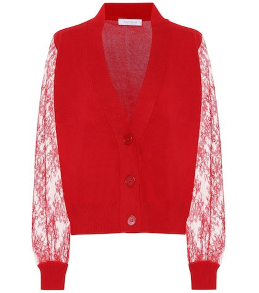 Ryan Roche Lace-trimmed cashmere cardigan in red