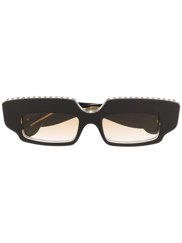 Gucci Eyewear crystal-embellished rectangle sunglasses in brown