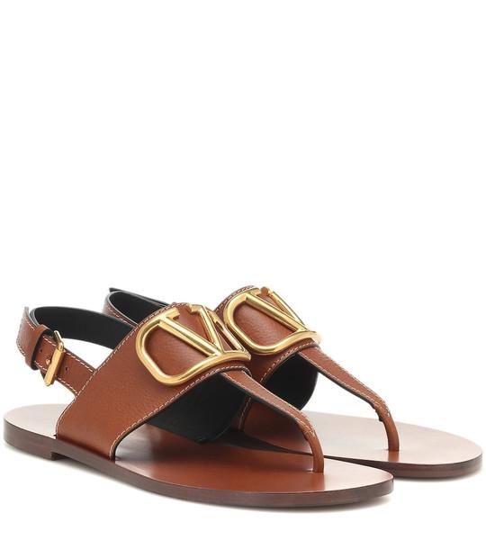 Valentino Garavani VLOGO leather sandals in brown