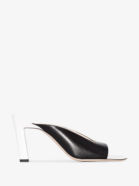 Wandler black and white Isa 85 square toe leather sandals