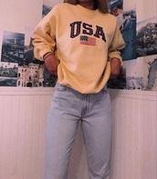 shirt,yellow,sweatshirt,usa