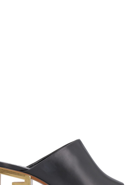 Givenchy Triangle Leather Open-toe Mules in black