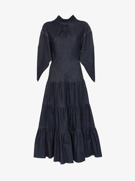 Chloé Chloé denim tiered midi dress