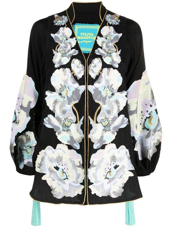 Yuliya Magdych Exstasy floral tunic top in black