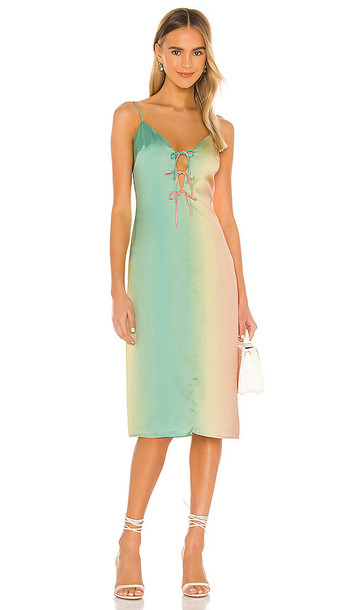 Song of Style Monroe Midi Dress in Green
