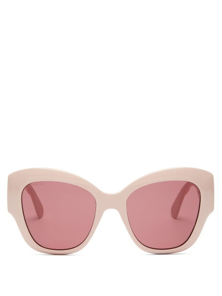 Gucci - GG-logo Quilted Cat-eye Acetate Sunglasses - Womens - Light Pink