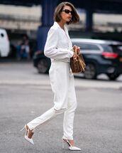 bag,handbag,fendi,pumps,white pants,white blazer