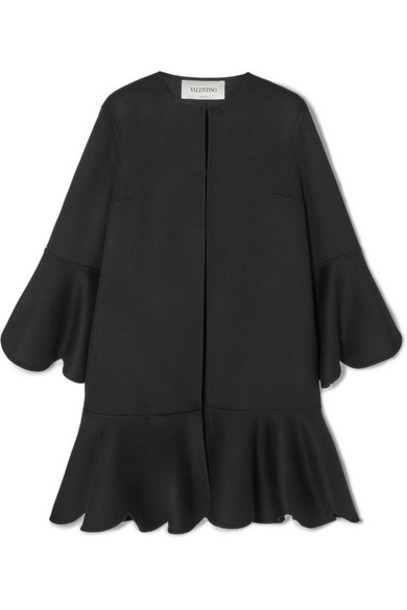 Valentino - Ruffled Wool And Cashmere-blend Cape - Black