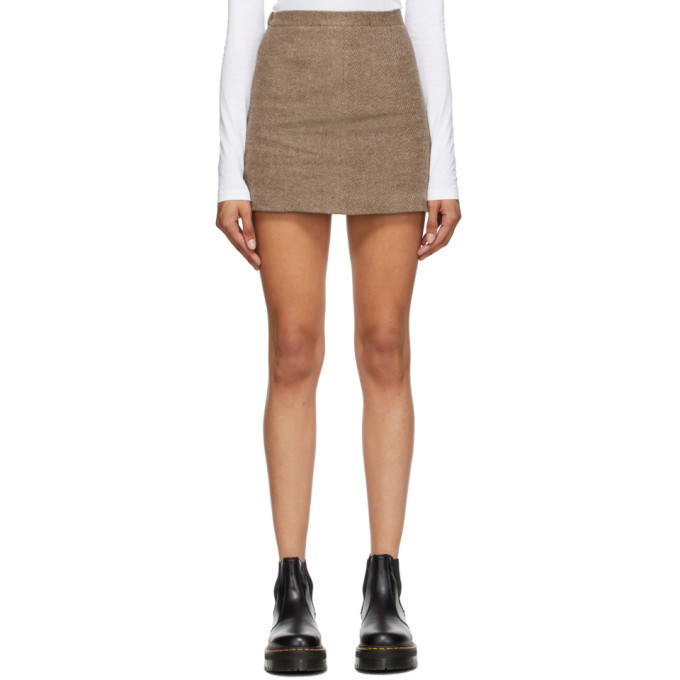 Opening Ceremony Brown Felted Miniskirt in taupe