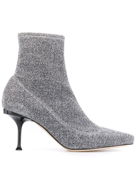 Sergio Rossi lurex ankle boots in silver