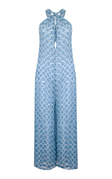 Cloe Cassandro Ruby Silk Jumpsuit Size: XS in blue