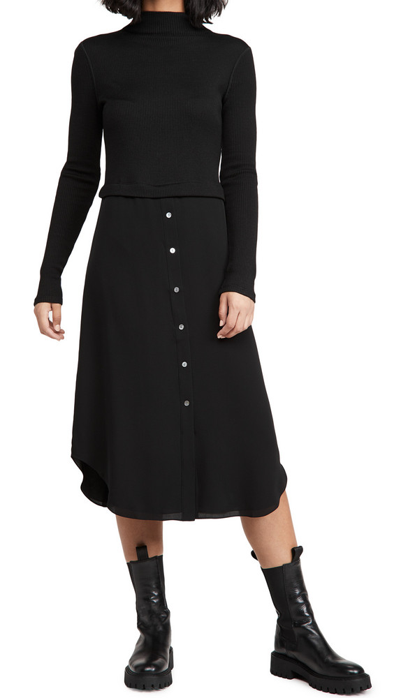 Theory Long Sleeve Combo Dress in black