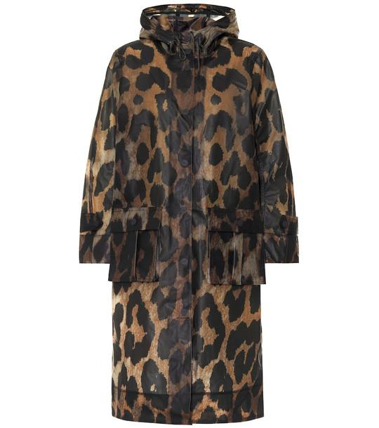 Ganni Leopard-print rain jacket in beige