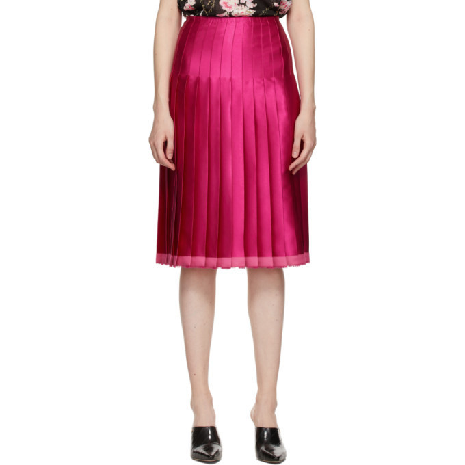 Commission Pink Pleated Scarf Skirt in fuchsia