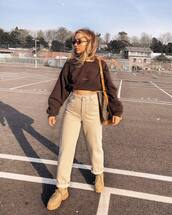 pants,high waisted pants,straight pants,platform shoes,cropped,sweatshirt,brown bag,louis vuitton bag