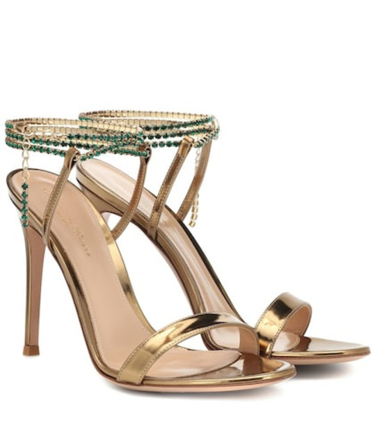 Gianvito Rossi Embellished metallic leather sandals in gold