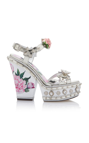 Dolce & Gabbana Embellished Leather Platform Sandals in silver