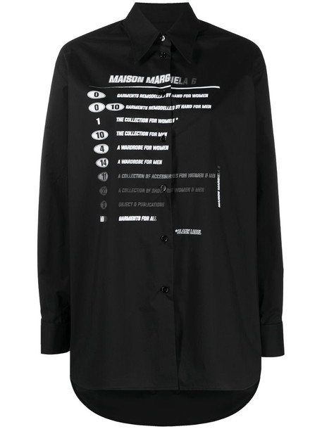 MM6 Maison Margiela logo print long-sleeved shirt in black