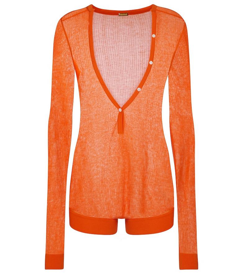 Dodo Bar Or Ribbed-knit playsuit in orange