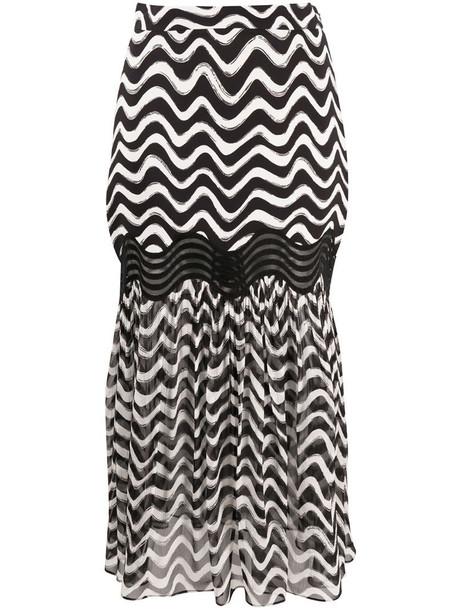 Stella McCartney chevron print midi skirt in black