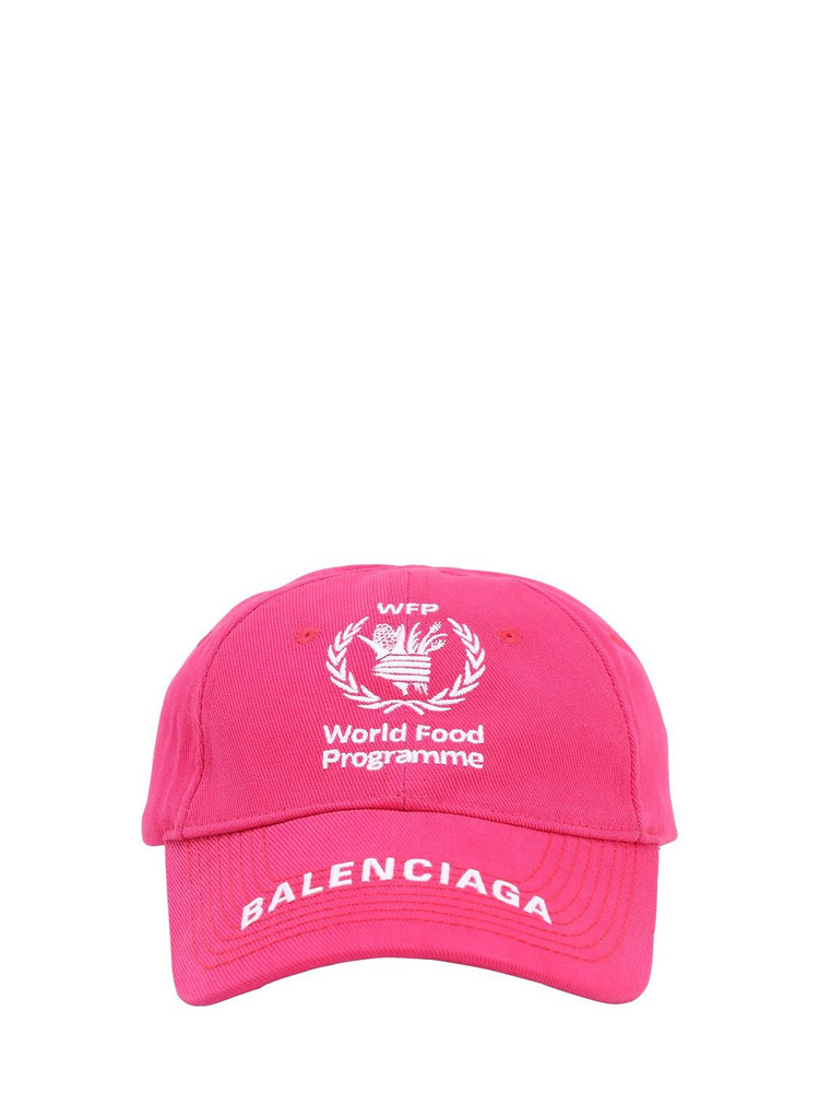 BALENCIAGA Wfp Print Cotton Baseball Hat in fuchsia / white