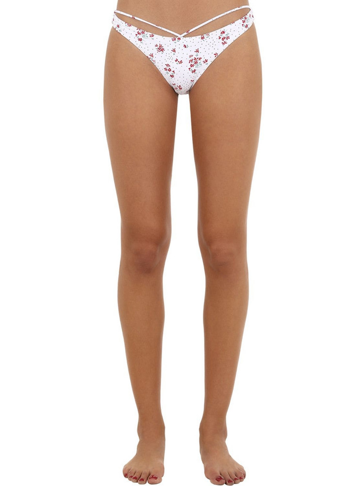 BOND EYE Floral Print Lycra Bikini Bottoms in white