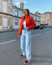 jacket,bomber jacket,nike,sneakers,high waisted jeans,straight jeans,white top,bag