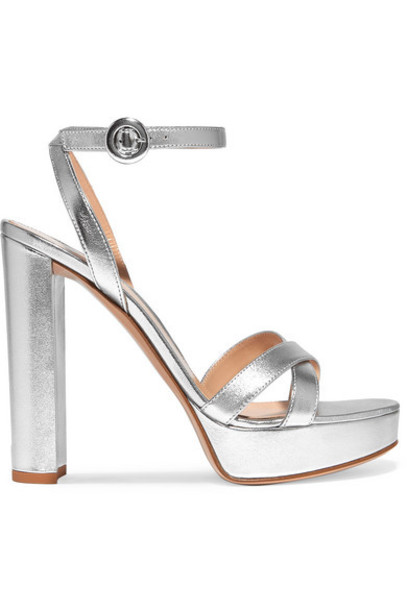 Gianvito Rossi - Poppy 100 Metallic Leather Platform Sandals - Silver